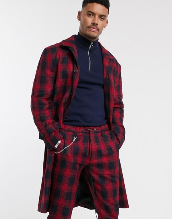 ナイト アディクト メンズ コート アウター Night Addict checked longline overcoat Red