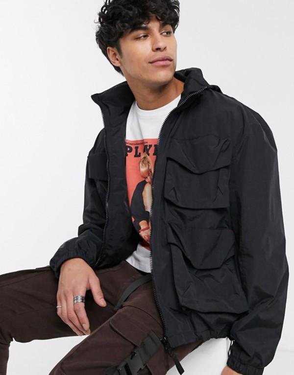 エイソス メンズ ジャケット・ブルゾン アウター ASOS DESIGN jacket with funnel neck in black Black
