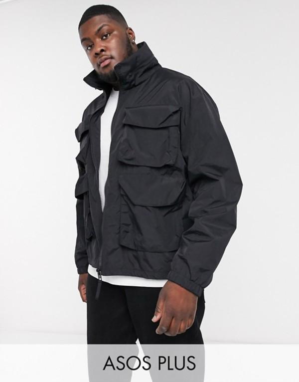 エイソス メンズ ジャケット・ブルゾン アウター ASOS DESIGN Plus jacket with funnel neck in black Black