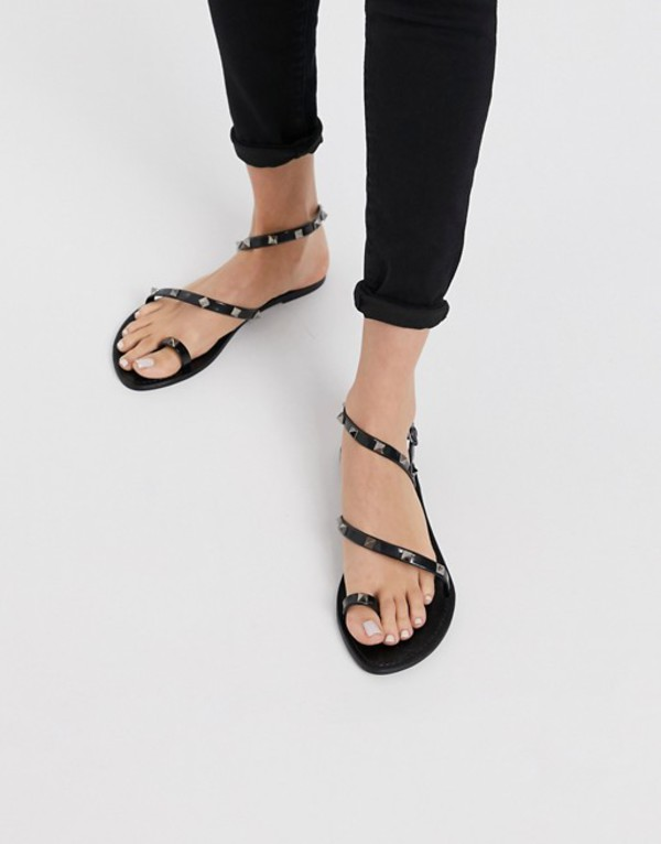 エイソス レディース サンダル シューズ ASOS DESIGN Flaunt studded jelly flat sandals in black Black