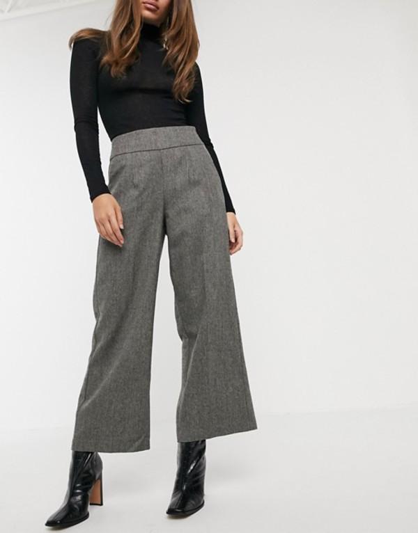 ワイエーエス レディース カジュアルパンツ ボトムス Y.A.S tailored pants with wide leg in gray herringbone Gray