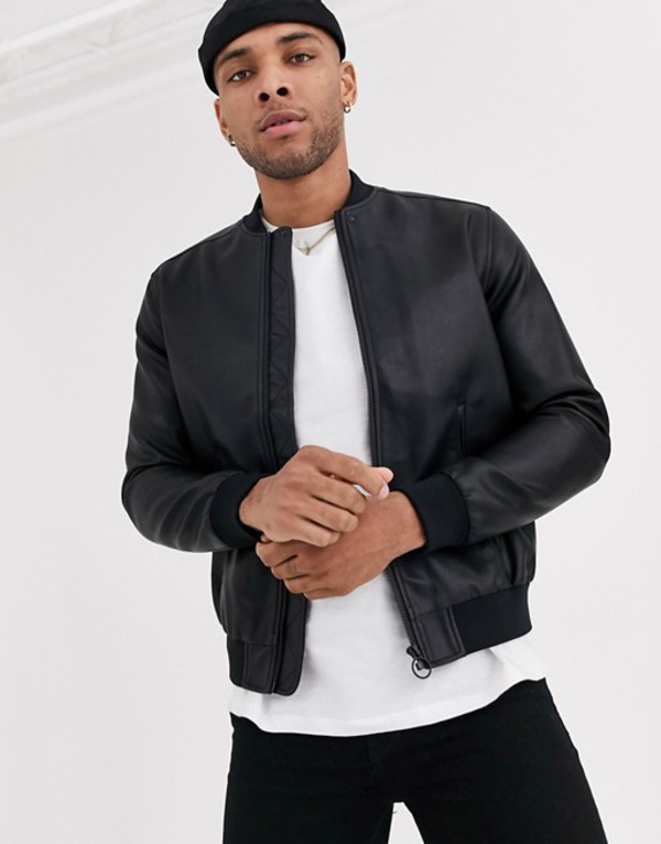 ベルシュカ メンズ ジャケット・ブルゾン アウター Bershka faux leather bomber jacket in black Black