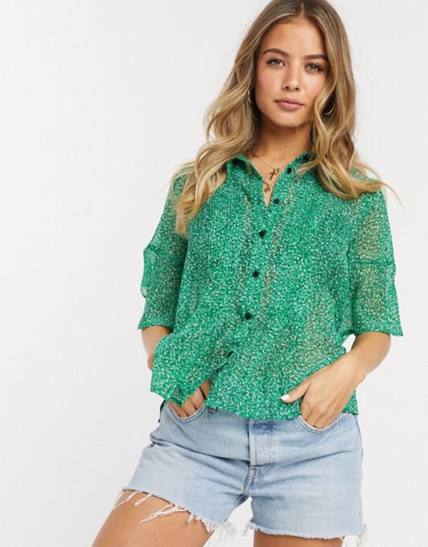 フレンチコネクション レディース シャツ トップス French Connection floral pintuck shirt Bright green