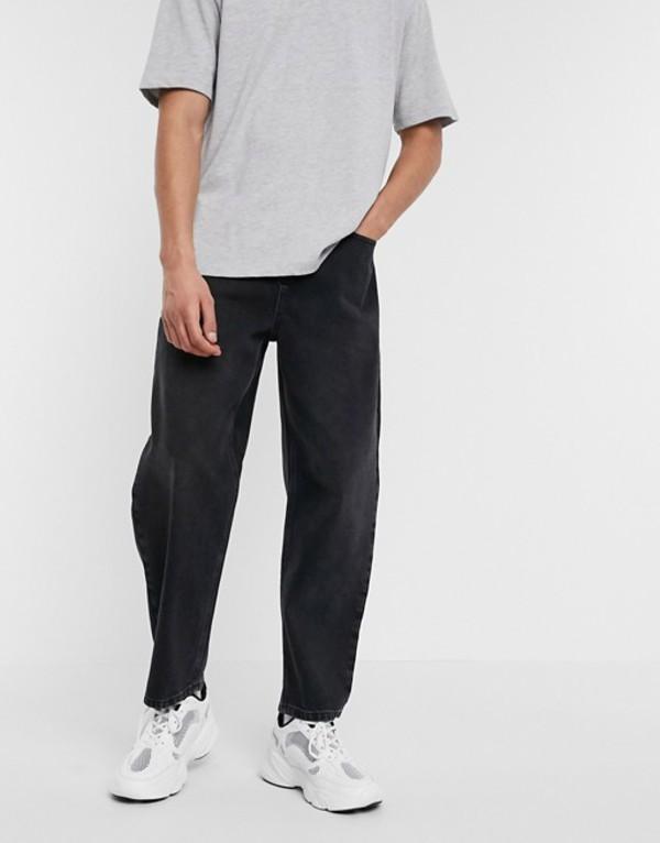 エイソス メンズ デニムパンツ ボトムス ASOS WHITE barrel jeans in black Black