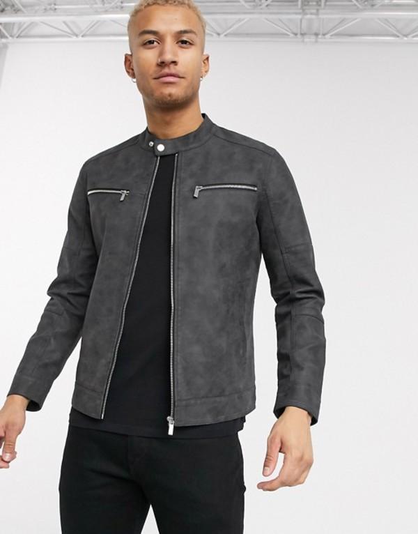 オンリーアンドサンズ メンズ ジャケット・ブルゾン アウター Only & Sons faux suede biker jacket in gray Phantom
