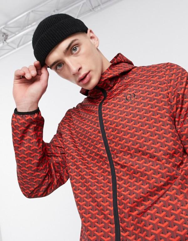 クリミナルダメージ メンズ ジャケット・ブルゾン アウター Criminal Damage nylon tracksuit jacket in red pattern Red