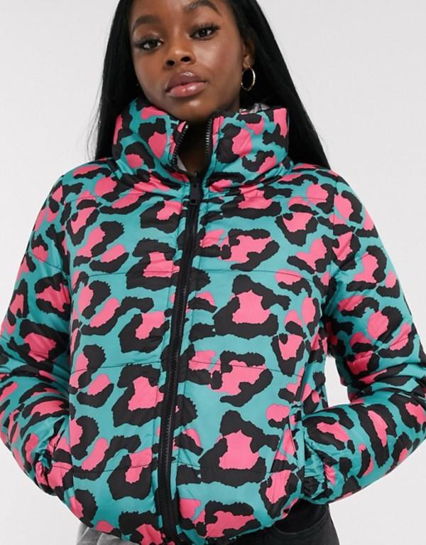 ブレーブソウル レディース コート アウター Brave Soul winnie reversible neon animal print puffer jacket Black/turq pink