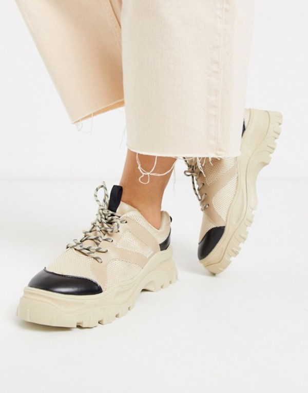 モンキ レディース スニーカー シューズ Monki chunky sole mesh sneakers in beige Beige with black