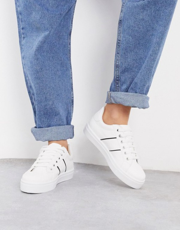 ウエアハウス レディース スニーカー シューズ Warehouse classic lace up sneaker in color block croc White with croc stri