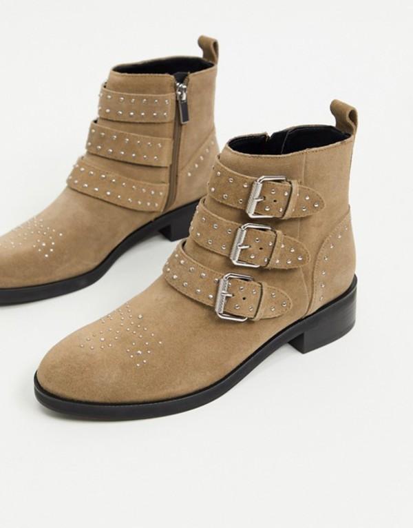 プルアンドベアー レディース ブーツ・レインブーツ シューズ Pull&Bear suede buckle boots in taupe Beige