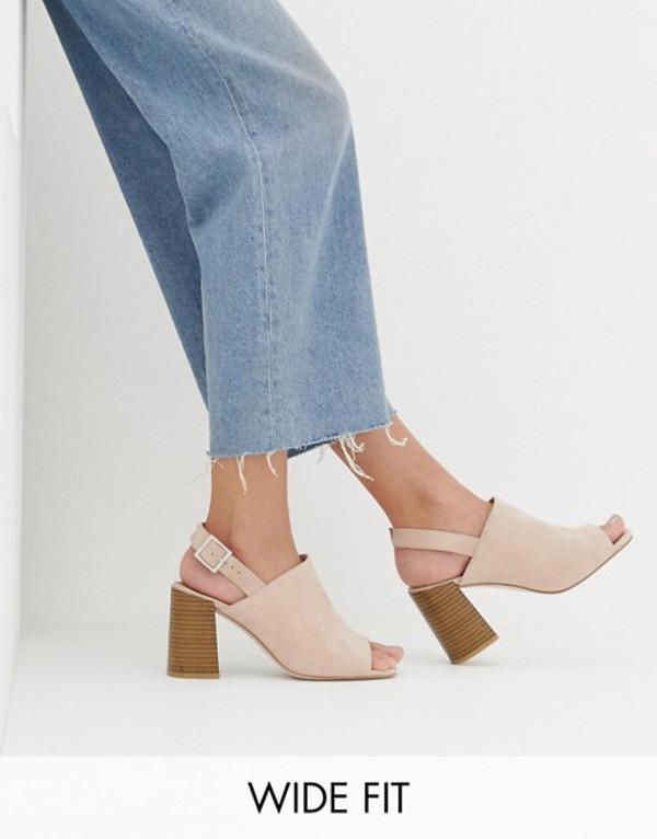 エイソス レディース ヒール シューズ ASOS DESIGN Wide Fit Wrap minimal slingback block heeled sandals Gray