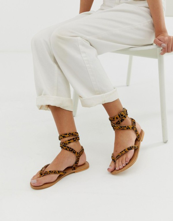 エイソス レディース サンダル シューズ ASOS DESIGN Fix It leather flat sandals in leopard print Leopard