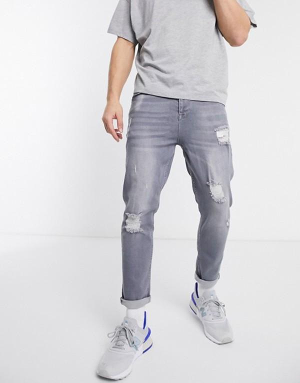 エイソス メンズ デニムパンツ ボトムス ASOS DESIGN tapered jeans in washed gray with abrasions Gray