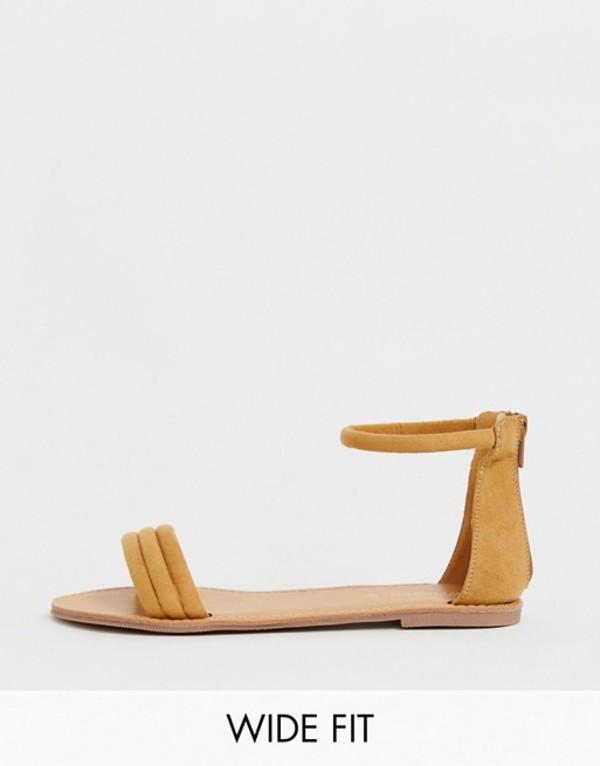 ロンドンレベル レディース サンダル シューズ London Rebel wide fit tubular flat sandals Tan micro