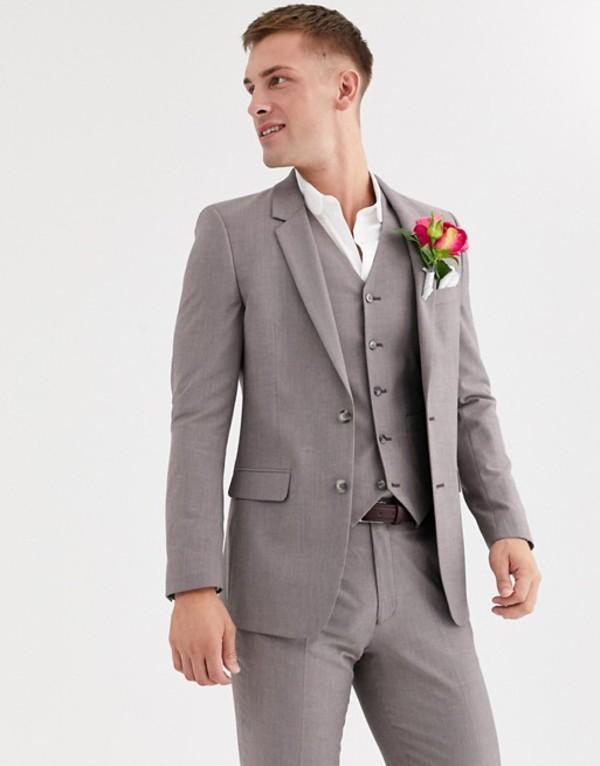 エイソス メンズ ジャケット・ブルゾン アウター ASOS DESIGN wedding slim jacket in violet gray melange Gray