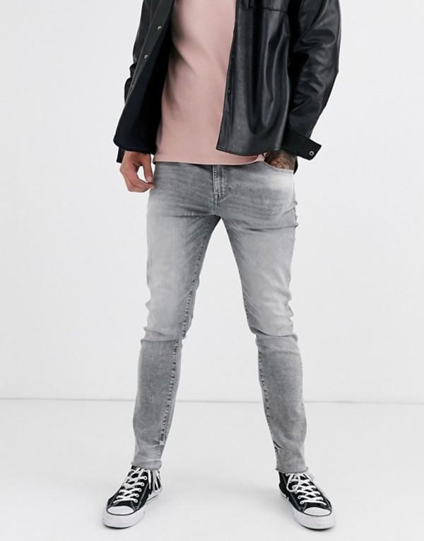 エイソス メンズ デニムパンツ ボトムス ASOS DESIGN 12.5oz skinny jeans in washed gray Gray