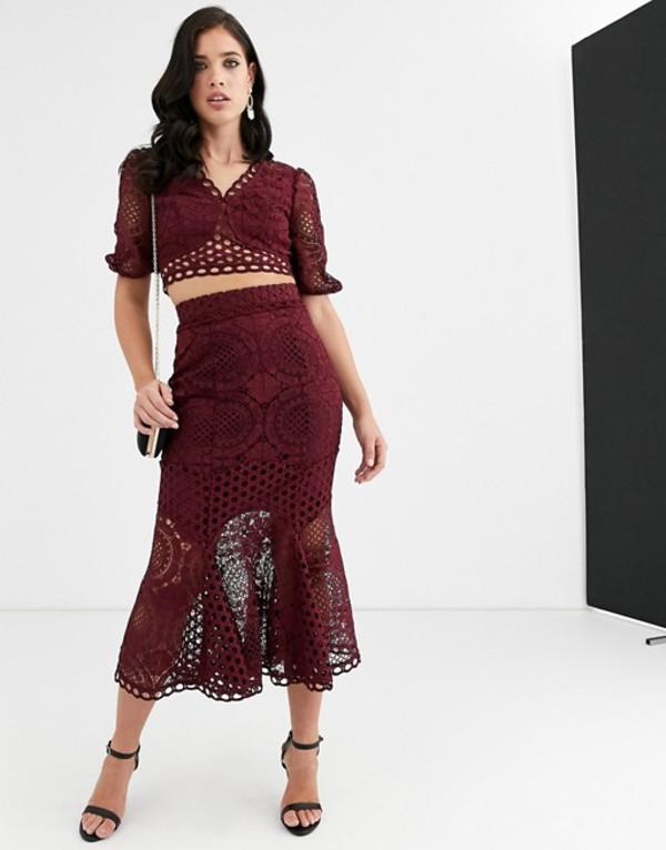 エイソス レディース スカート ボトムス ASOS DESIGN patch lace skirt two-piece Wine