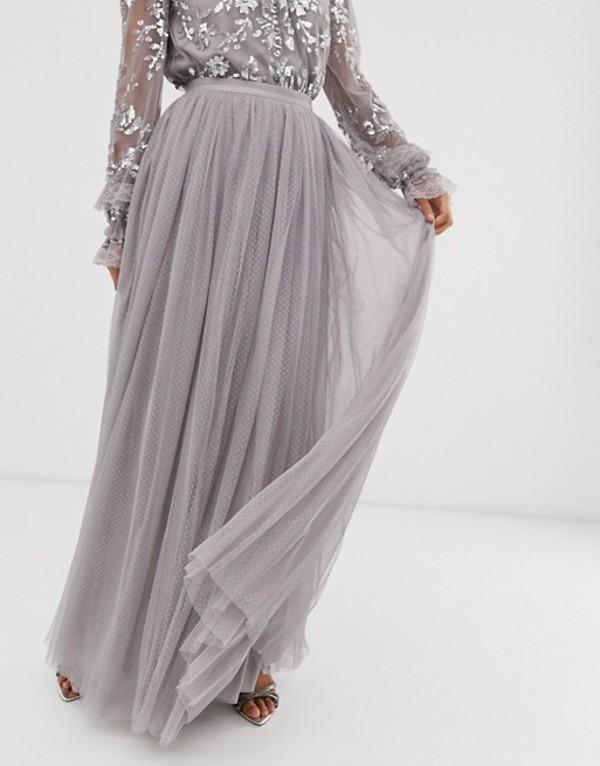 ニードルアンドスレッド レディース スカート ボトムス Needle & Thread dotted tulle maxi skirt in gray Gray