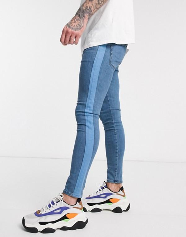 エイソス メンズ デニムパンツ ボトムス ASOS DESIGN spray on jeans in power stretch with side stripe in mid wash blue Mid wash blue