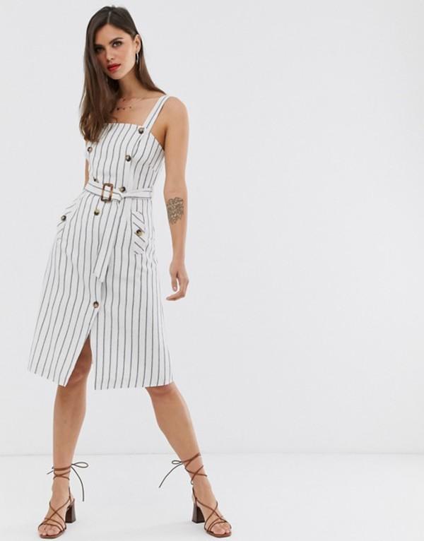 リクオリッシュ レディース ワンピース トップス Liquorish button front midi dress in stripe Black&white