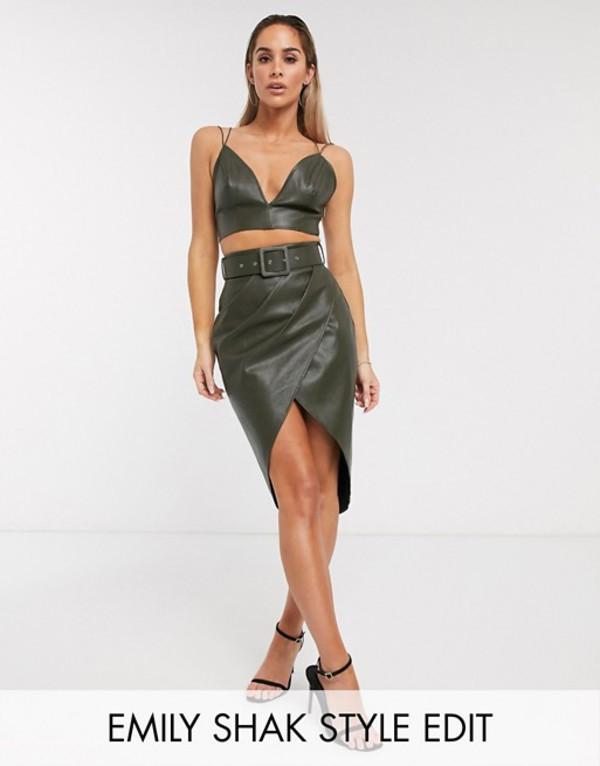 エイソス レディース スカート ボトムス ASOS DESIGN mini wrap skirt two-piece in PU Khaki