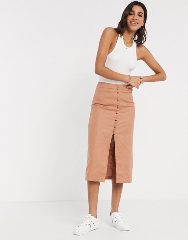 エイソス レディース スカート ボトムス ASOS DESIGN splendid linen button through midi skirt Fudge