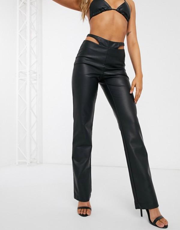 エイソス レディース カジュアルパンツ ボトムス ASOS DESIGN thong detail PU slim pants two-piece Black
