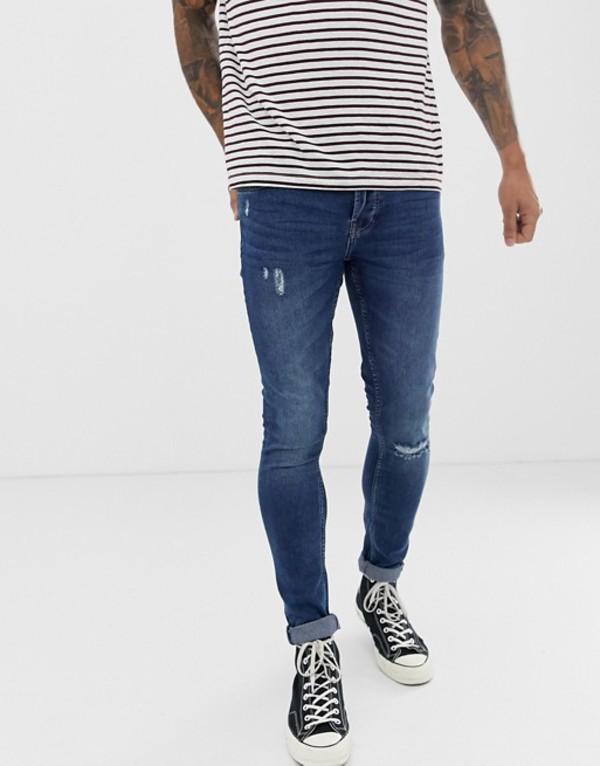 オンリーアンドサンズ メンズ デニムパンツ ボトムス Only & Sons super skinny fit knee break jeans in washed blue Blue