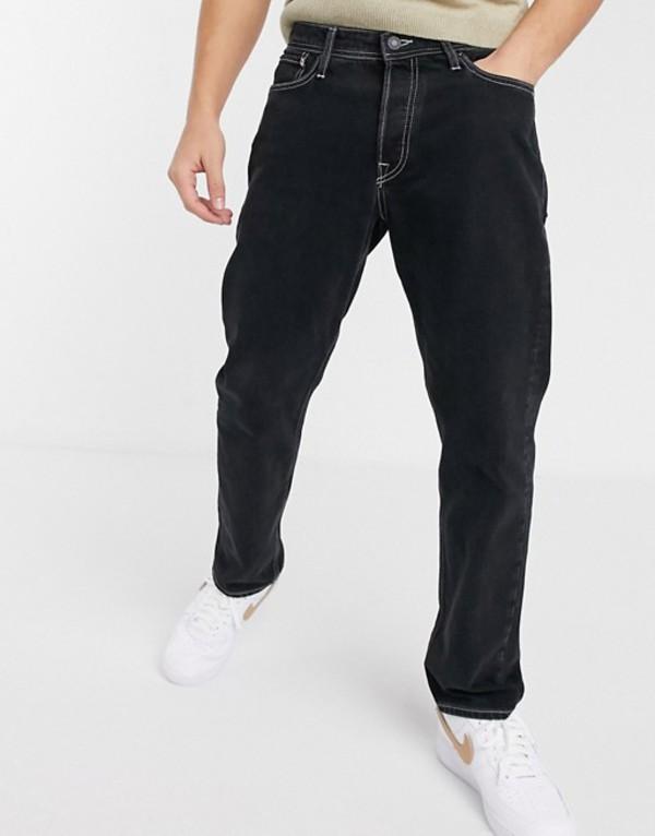 ジャック アンド ジョーンズ メンズ デニムパンツ ボトムス Jack & Jones Intelligence loose fit contrast stitch jeans in black Black