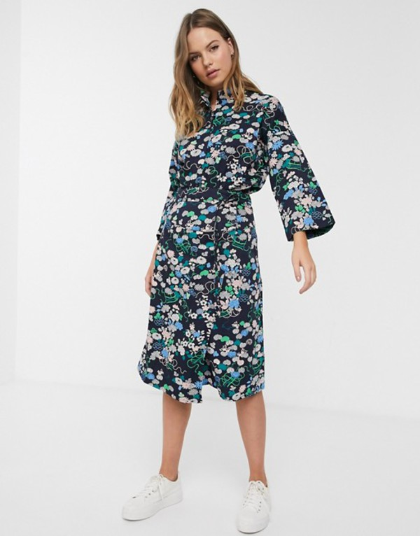 ピープル・ツリー レディース スカート ボトムス People Tree x V&A organic cotton wrap skirt in floral print two-piece Blue