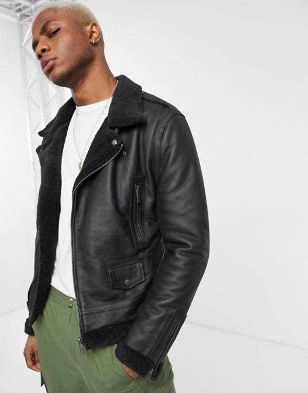 ボロンガロトレバー メンズ ジャケット・ブルゾン アウター Bolongaro Trevor shearling leather jacket Black