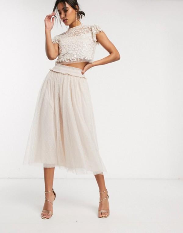 ニードルアンドスレッド レディース スカート ボトムス Needle & Thread tulle midaxi skirt in blush pink Pearl rose