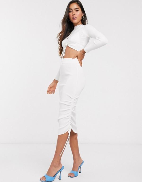 エイソス レディース スカート ボトムス ASOS DESIGN two-piece ruched detail knitted midi skirt White