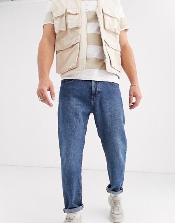 プルアンドベアー メンズ デニムパンツ ボトムス Pull&Bear jeans in dad fit blue Med blue