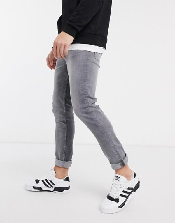 ニュールック メンズ デニムパンツ ボトムス New Look slim fit jeans in light gray wash Light gray