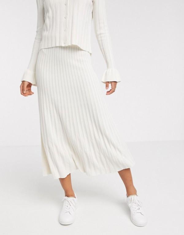 ワイエーエス レディース スカート ボトムス Y.A.S knitted skirt two-piece in cream Cream