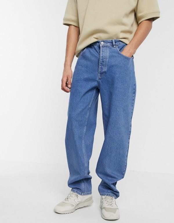 エイソス メンズ デニムパンツ ボトムス ASOS WHITE super baggy jeans in mid wash blue Mid wash blue
