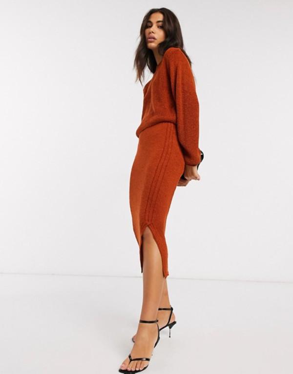 エイソス レディース スカート ボトムス ASOS DESIGN two-piece knitted midi skirt in natural look yarn Rust