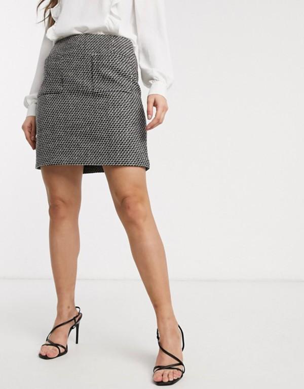 ウエアハウス レディース スカート ボトムス Warehouse mini skirt with pocket detail in multi Black/cream