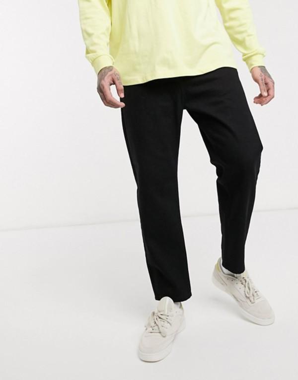 エイソス メンズ デニムパンツ ボトムス ASOS WHITE tapered jeans in 14 oz black denim Black