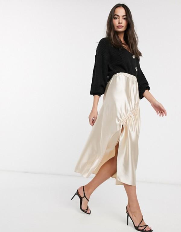 エイソス レディース スカート ボトムス ASOS DESIGN high shine satin midi skirt with ruching detail in off white Off white