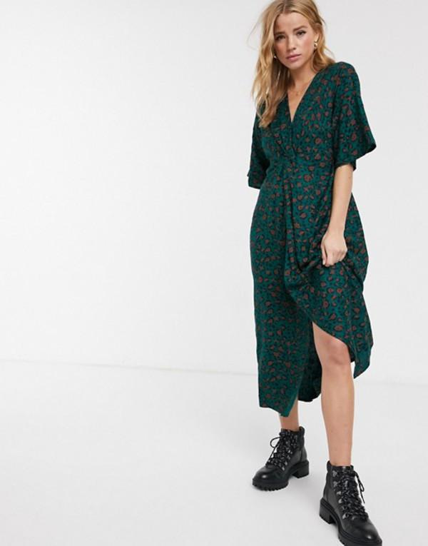 ブレンドシー レディース ワンピース トップス Blend She wrap maxi dress in green Printed