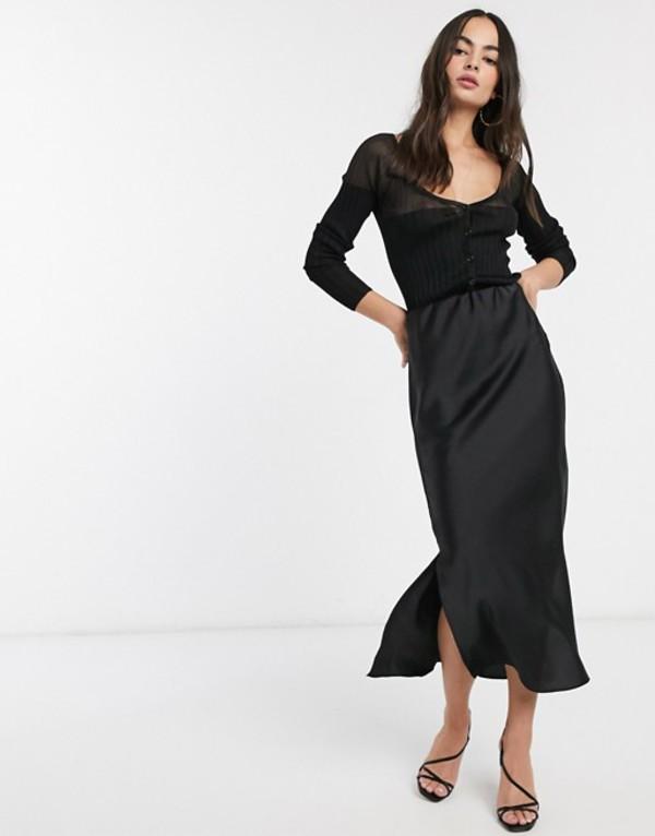 エイソス レディース スカート ボトムス ASOS DESIGN bias cut satin midi skirt with splits in black Black