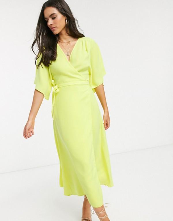 リクオリッシュ レディース ワンピース トップス Liquorish midi wrap dress in bright yellow Yellow