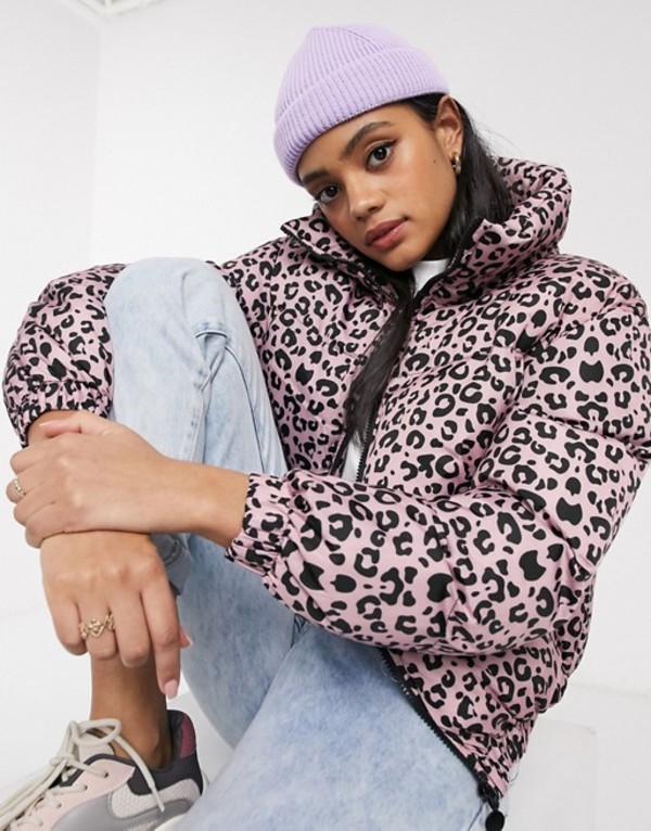 ブレーブソウル レディース コート アウター Brave Soul imogen padded coat in pink leopard Pink / black