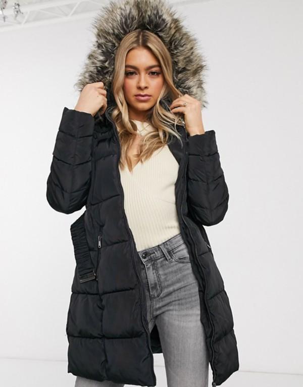 アックスパリ レディース コート アウター AX Paris belted puffer longline coat with faux fur hood Black