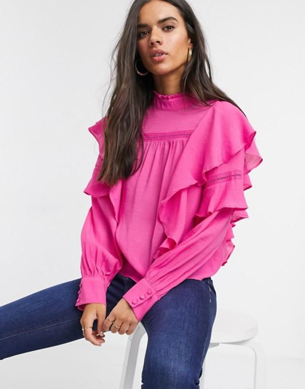 ヴェロモーダ レディース シャツ トップス Vero Moda blouse with high neck and ruffle trim in pink Pink