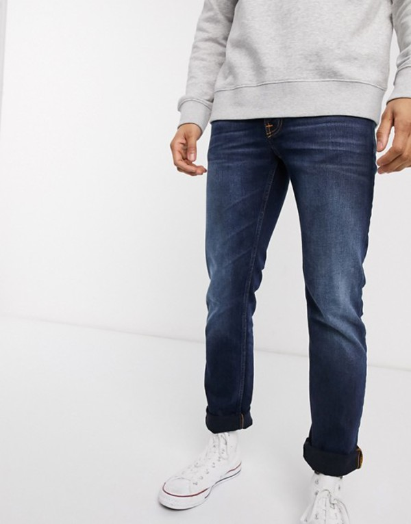 ヌーディージーンズ メンズ デニムパンツ ボトムス Nudie Jeans Co Grim Tim slim straight fit jeans in ink navy Blue