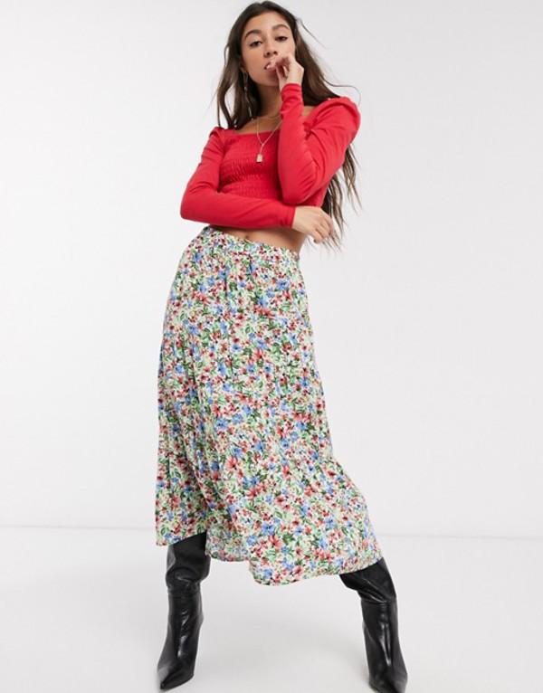 オンリー レディース スカート ボトムス Only midi skirt in floral print Multi