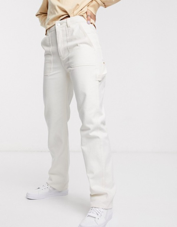 ウィークデイ レディース デニムパンツ ボトムス Weekday worker jeans with pockets in ecru Brushed ecru